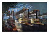 Mississippi River Race Giclee Print by  Currier & Ives