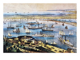 Upper and Lower Bay of NY Prints by  Currier & Ives