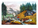 California: Gold Mining Giclee Print by  Currier & Ives