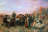 The First Thanksgiving Giclee Print by Jennie Augusta Brownscombe