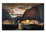 Night on the Hudson, 1864 Prints by  Currier & Ives