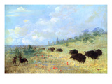 Catlin: Elk and Buffalo Giclee Print by George Catlin