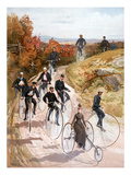 Bicycling, 1887 Giclee Print by  L. Prang & Co.