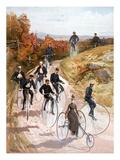 Bicycling, 1887 Premium Giclee Print by  L. Prang & Co.