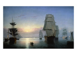 Lane: Boston Harbor Stampa giclée di Fitz Hugh Lane