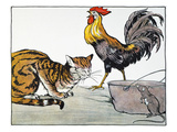 Aesop: Cat, Cock, and Mouse Giclee Print by Milo Winter
