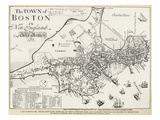 Boston Map, 1722 Prints by George G. Smith