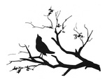 Silhouette: Bird on Branch Giclee Print