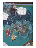 India: Elephant Fight Giclee Print