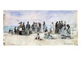 Boudin: Beach Scene, 1869 Premium Giclee Print by Eugène Boudin