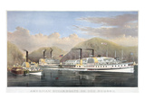 Hudson River Steamships Giclee Print by  Currier & Ives