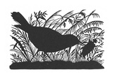 Silhouette: Bird and Insect Giclee Print