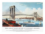 View of Brooklyn Bridge Giclee Print by  Currier & Ives