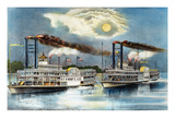 Steamboat Race, 1870 Giclee Print by  Currier & Ives