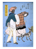 Japan: Woman with Dog Poster by Sadahide Utagawa
