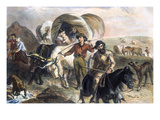 Emigrants to West, 1874 Giclee Print by H.b. Hall