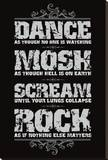 Dance, Mosh, Scream, Rock Stretched Canvas Print