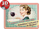 Cook With Wine Tin Sign