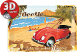 VW Beetle Ready for the Beach Cartel de chapa