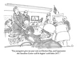 """""""You youngsters give me your vote on Election Day and I guarantee this sun…"""" - New Yorker Cartoon Premium Giclee Print by Michael Crawford"""