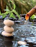 Aqua I fontaine et bambou Affiches