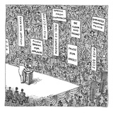 A politician stands in front of an audience, in which people are holding u… - New Yorker Cartoon Premium Giclee Print by John O'brien