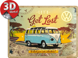 VW Let's Get Lost Tin Sign