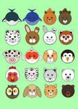 20 Animaru On Green Prints