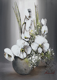 Univers d'Orchidees Blanches II Affiche par Olivier Tramoni