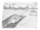 """Limited Government, Next 600 Miles."" Man driving down a road into wilder… - New Yorker Cartoon Premium Giclee Print by Paul Noth"