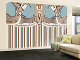 Neutral Blue Striped Ascension Wall Mural – Large by Belen Mena