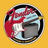 Fender - Round G&amp;A Tin Sign