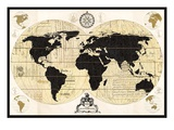 Vintage World Map Giclee Print by Devon Ross
