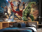 Avengers Chair Rail Prepasted Mural 6' x 10.5' - Ultra-strippable Wall Mural