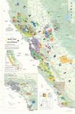 California Wine Map Poster Láminas
