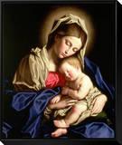 Madonna and Child Framed Canvas Print by  Giovanni Battista Salvi da Sassoferrato