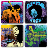 Jimi Hendrix 4pc Wood Coaster Set Coaster