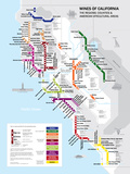 Metro California Wine Map Poster Poster
