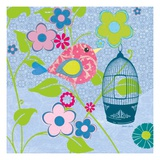 Pink Patterned Bird Giclee Print by Sandra Smith
