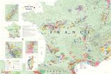 France Wine Map Poster - Reprodüksiyon