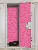 Pink Zebra Peel &amp; Stick Locker Skins Wall Decal