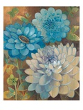 Pretty Blue Dahlias 1 Print by Vera Hills