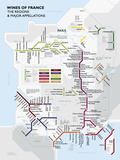 Metro France Wine Map Poster Kunstdruck