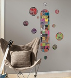 Art of Board Skateboard and Dots Peel & Stick Giant Wall Decals Wall Decal