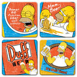 "The Simpsons ""Duff Beer"" 4pc Wood Coaster Set Coaster"