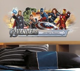 Avengers Peel &amp; Stick Giant Headboard w/Personalization Wall Decal