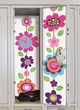 Flower Stripe Peel &amp; Stick Locker Skins Wall Decal