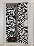 Black &amp; White Zebra Peel &amp; Stick Locker Skins Wall Decal