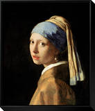 Girl with a Pearl Earring, circa 1665-6 Framed Canvas Print by Jan Vermeer