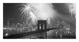 Fireworks over the Brooklyn Bridge Poster